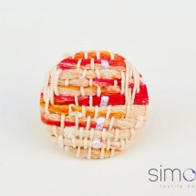 Woven orange and white ring