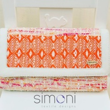 Woven orange green and white clutch