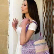 Woven pastel shopper bag