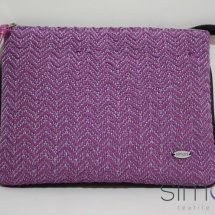 Woven pink and purple zip clutch