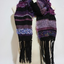 Woven purple and black shawl