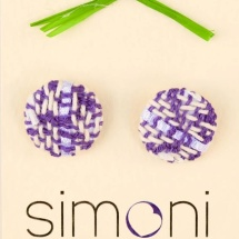Woven purple and white earrings