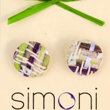 Woven purple green and white earrings
