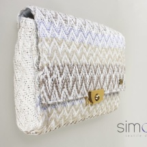 Woven purse in neutral colours