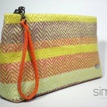 Woven purse with orange handle