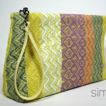 Woven purse with yellow handle