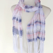 Woven scarf in blue, white and pink