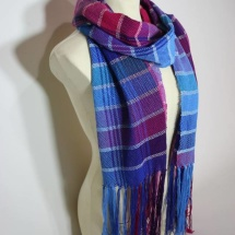 Woven shawl with stripes