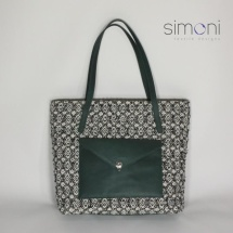 Woven shopper bag with green leather