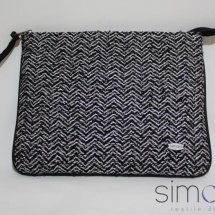 Woven silver and black zip clutch