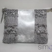 Woven silver zip clutch