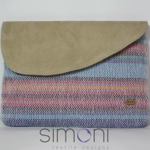 Woven striped clutch with beige leather