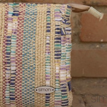 Woven, stripped beauty bag: purse detail