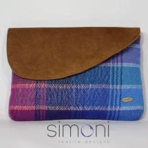Woven stripped clutch withleather and chain