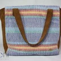Woven tote bag with brown leather