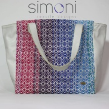 Woven tote bag with white leather