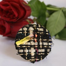 Woven tweed black and gold brooch