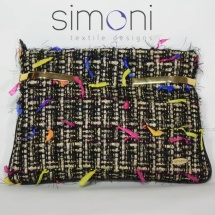 Woven tweed black and gold clutch bag