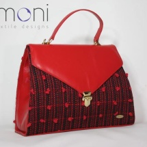 Woven tweed lady like bag in black and red