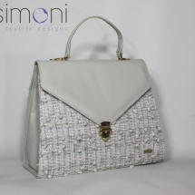 Woven tweed lady like bag in white and silver