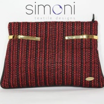 Woven tweed red and black clutch bag