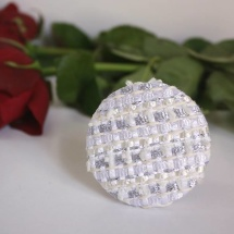 Woven tweed white and silver brooch