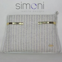 Woven tweed white and silver clutch bag