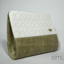 Woven white clutch with patterns