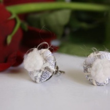 Woven white earrings
