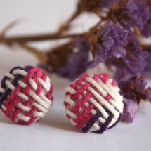 Woven white fuchsia and purple earrings