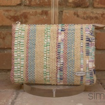 woven, stripped beauty bag: purse