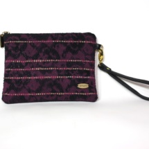 Hand-woven black purse with lace print