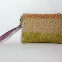 Hand-woven rainbow purse with suede leather
