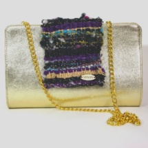 Leather Gold Clutch with woven fabric