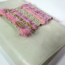 Leather Beige clutch with woven fabric