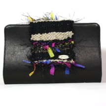 Leather Black clutch with woven fabric