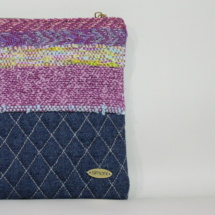 Woven and denim purse