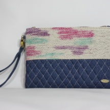 Denim purple dye clutch