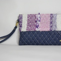 Denim purple textures clutch001