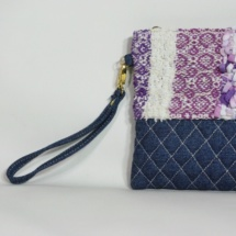 Denim purple textures clutch