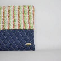 denim striepd orange green clutch
