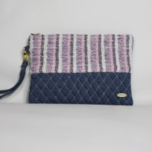 denim striepd pastel clutch001