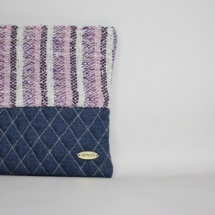 denim striepd pastel clutch