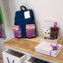 denim backpack and gift box