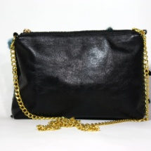 Black and blue purse with chain back