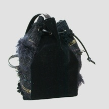 Black and gold pouch bag side