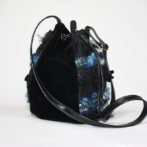 Blue and black pouch bag side