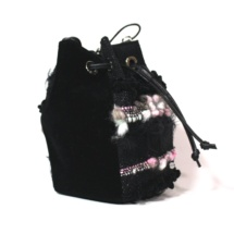 Pink and black pouch bag side