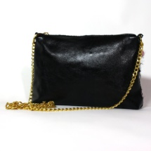 Pink and black purse with chain back