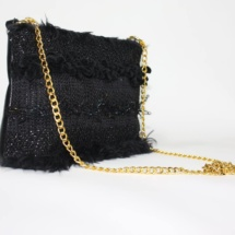 Total black purse with chain side
